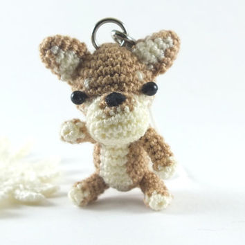Mini Brown Tone Shiba Dog Amigurumi Crochet Doll Cell Phone Charm with Black Beads Eyes.
