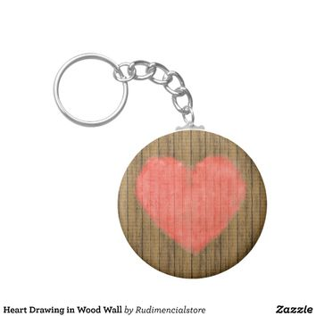 Heart Drawing in Wood Wall Keychain