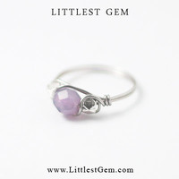 Amethyst Opal Boho Ring - wire wrapped jewelry handmade - unique rings - custom