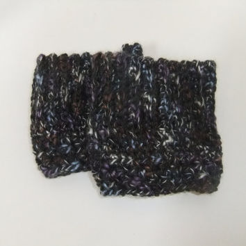 New color- Speckeled Charcoal grey - black - crochet Boot Cuff - short leg warmer - Boot toppers