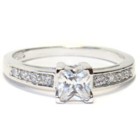 Princess Cut Diamond (White) Promise Ring