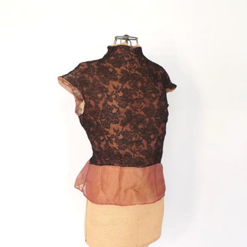 Vintage 1940's Lace Blouse Romantic Vampy Kesko Semi Sheer Black Lace Shirt Victorian Edwardian Style Medium Copper 1930s Lace Peplum Blouse