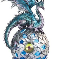 "George S. Chen Imports StealStreet SS-G-71512 Dragon on Light Up LED Orb Statue Display, 8.25""/Large, Aqua"