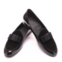 Three color Genuine Leather stitching loafers