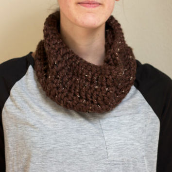 Brown Crochet Neck Warmer Soft and Snug Chunky Cowl Scarf