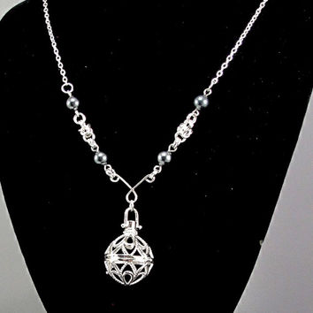 Aromatherapy Necklace - Beautiful Filigree Locket with Handcrafted Byzantine and Pearl Accents