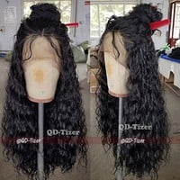 180 Density Long Loose Curly Synthetic Lace Front Wigs Black Color Hair for Fashion Women