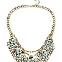 Betsey Johnson Brass-Tone Crystal Gem and Chain Ornate Frontal Necklace