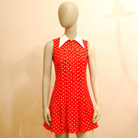 Sleeveless Red Polka Dot Dress, Vintage Mini Dress W/ Pointy White Collar, Pleated Front, Size 36