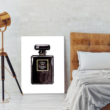 Coco Chanel perfum, black perfum bottle, black coco chanel perfum art, Illustration Wall Art, wall art, instant download