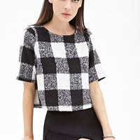 FOREVER 21 Shaggy Plaid Top Black/White