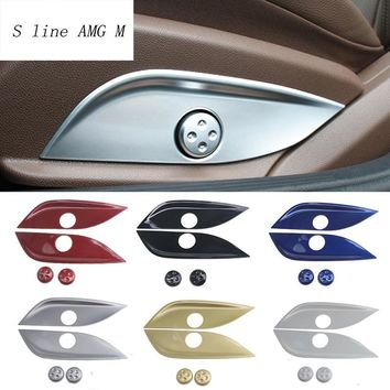Car styling Seat Adjust Switch Button Covers Stickers Panel Trim For Mercedes Benz GLC C E Class W205 W213 X253 Auto Accessories