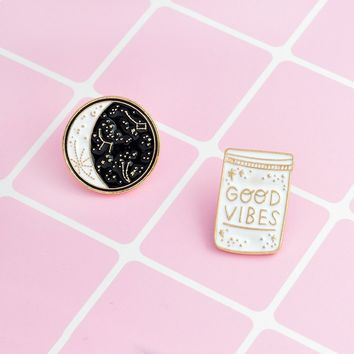 2PCS/SET Enamel Brooch Pin GOOD VIBES Polaris Ursa Major Pins  Denim Jacket Coat Suit Badges