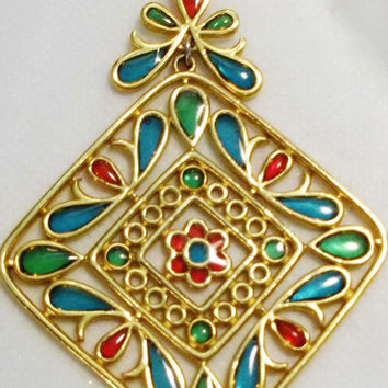 Rare Crown Trifari Pendant, Plique A Jour, Poured Glass, Stained Glass Look, Necklace, Pendant, Hallmarked, Jewels of India, Estate Jewelry