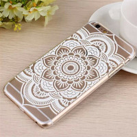 White Floral Paisley Flower Mandala Case Cover For Apple iPhone 6 Case Retro 6 Series Luxury Fashion Case For Phone