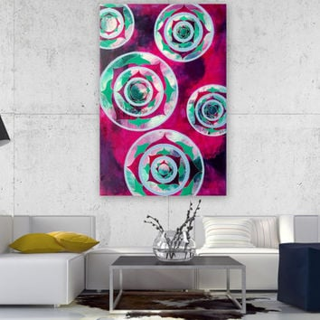 Mandala - Mandala Art - Mandala Painting - Mandala Canvas - Home Decor - Wall Art - Heart Chakra - Original Art 24 x 36 - Large Painting