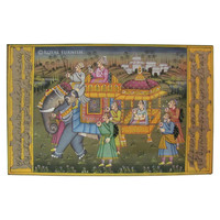 Rajasthan Traditional Maharaja Procession Miniature Painting