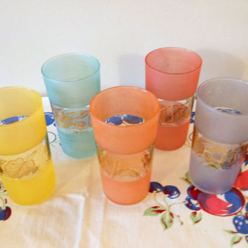 5 Mid Century Modern Frosted Juice Glasses, Mid Century Glasses, Multi Colored Gold Leaf Juice Glasses, Multicolor Frosted Glasses