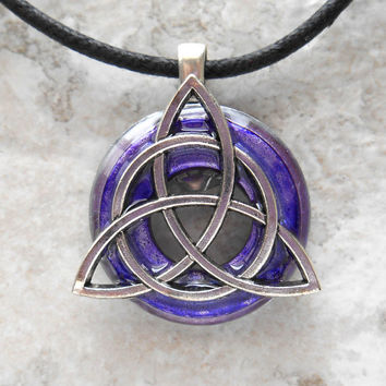 triquetra necklace: purple - mens jewelry - celtic jewelry - mens necklace - irish jewelry - unique gift - boyfriend gift - fathers day