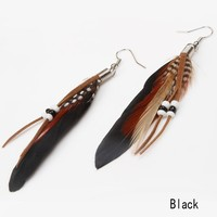 Newly Arrival 12 Colors Beading Goose Feather Woman Dangle Earrings Charming Jewelry Accessories