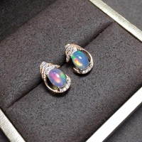 natural opal stud earrings s925 silver natural color gemstone earrings for girl women's party fine round Earrings jewelry