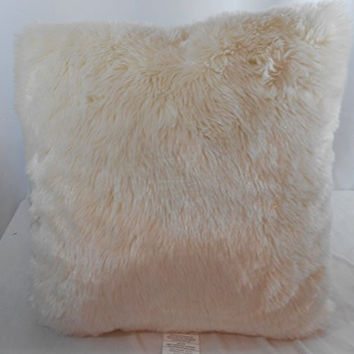 Smith White Faux Fur 18 X 18 Throw Pillow