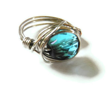 Silver wire wrapped cocktail ring  blue green Czech fire polished crystal