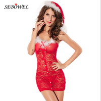 Christmas Costumes beautiful Sexy Women lace Lingerie red Adult Santa Suit with Christmas hat+g-string 7215