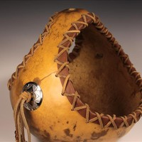 Pottery n Things - Leather Edged Gourd Basket