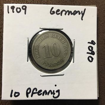1909 German Empire 10 Pfennig Coin 9090