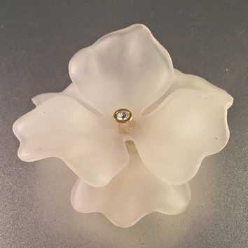 Lucite Rhinestone Flower Brooch, Frosted White, Huge Spring Statement, Layered Dimensional