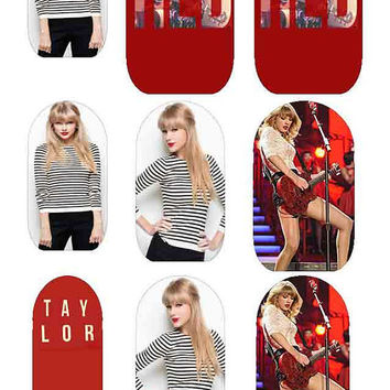 TAYLOR SWIFT RED Hot Cha Cha Covers Nail Decals