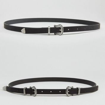 ASOS 2 Pack Single And Double Buckle Western Waist And Hip Belts at asos.com