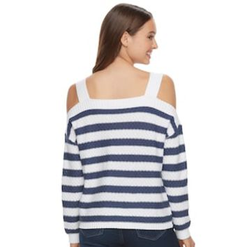 Juniors' SO® Cold-Shoulder Long Sleeve Top   null