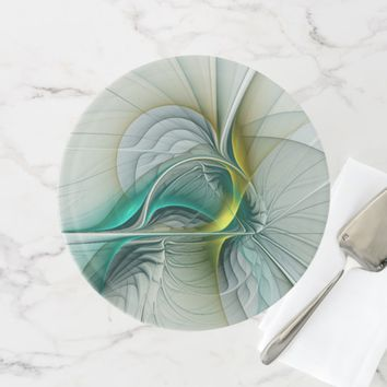Fractal Evolution, Golden Turquoise Abstract Art Cake Stand