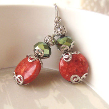 Vintage Inspired Jewelry, Neo Victorian Jewelry, Faceted Glass, Green Earrings, Coral Earrings, Dainty Dangles, Vintage Beads, Vintage Style