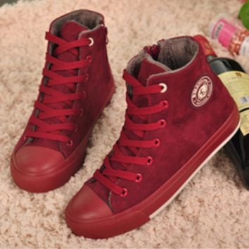 High-top canvas shoes women flat shoes casual shoes to keep warm