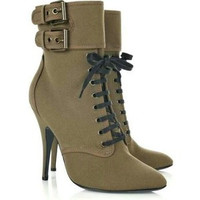 Liv Suede Army Green Boots