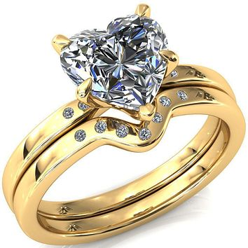 Maise Heart Moissanite 5 Prong Diamond Accent Engagement Ring