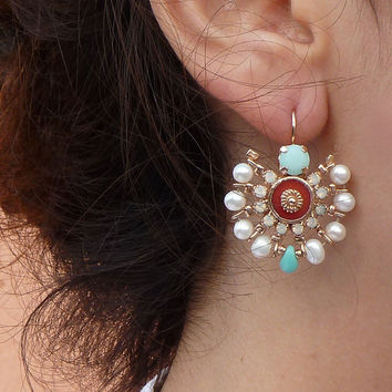 MAHARAJA EARRINGS, chandelier earrings, coral, pearl earrings, Mandala jewelry, Swarovski crystals, statement earrings.