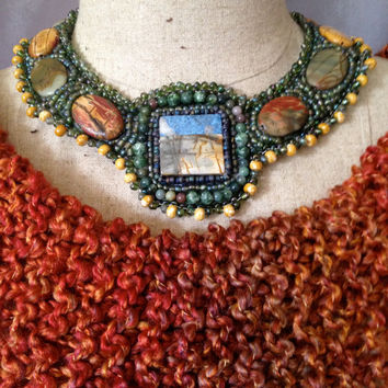 Bead Embroidered Collar -Picture Jasper