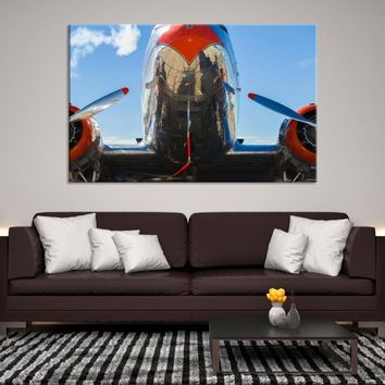 33090 - Bottom-Up Picture of Airplane Canvas Print, Extra Large Wall Art, Large Canvas Print, Airplane Propeller Canvas, Framed Wall Art, Home&Office Decor, Framed Wall Art
