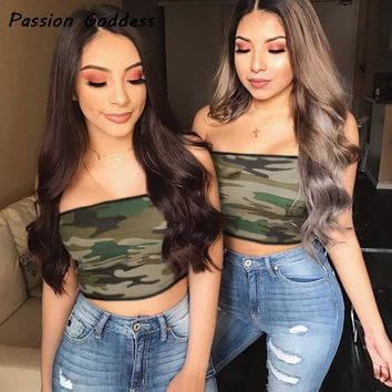 Casual Women Summer ArmyGreen Camo Strapless 2018 Bandeau Military Camouflage Tube Tops Off Shoulder Tanks Femme Cropped Tanks