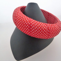 Red with White Dots Fabric Covered Vintage Bangle