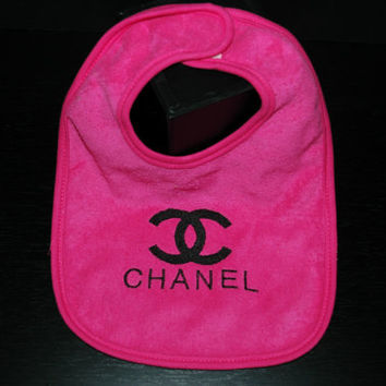 Chanel Terry Cloth Bib Pink with Black Logo