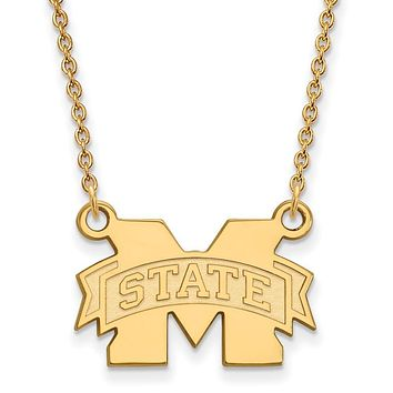 NCAA 10k Yellow Gold Mississippi State Sm 'M' State Pendant Necklace