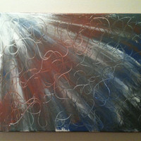 """Sunlight painting 11""""x14"""" with swirl accent lines and copper trim"""