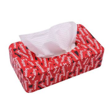 DCCKR2 Supreme Red Car Paper Towel Box Hanging Type Sunroof And Sunroof Car Use The Paper Box Car Interior Decorative Leather Creative Tissue Box