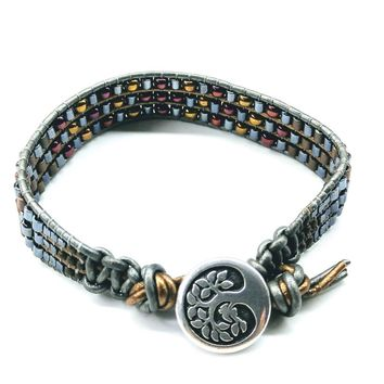 Mens Tree of Life Earth Colored Beaded Leather Wrap Bracelet