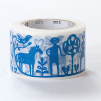 Adam & Eve,  BENGT LOTTA - Japanese Washi Paper Masking Tape - Kawaii Deco Collage, Gift Wrapping, Christianity Blue White Decor Sticker